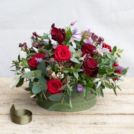 romantic rose valentines hat box arrangement