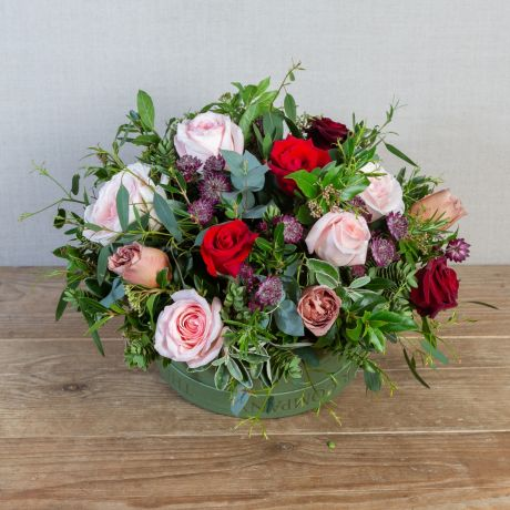romantic valentines hatbox arrangement
