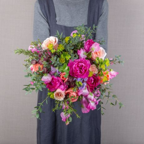rose and sweetpea jewel bouquet