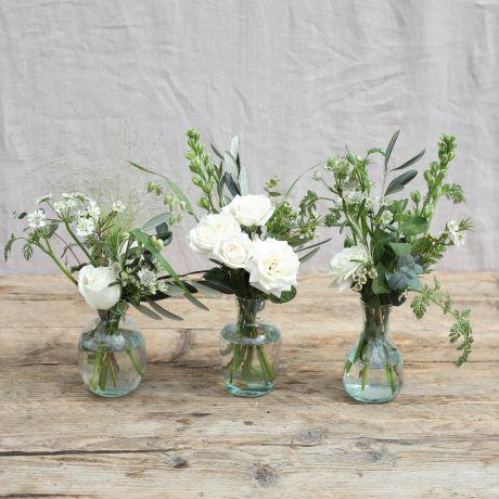 rustic white bridal vase trio