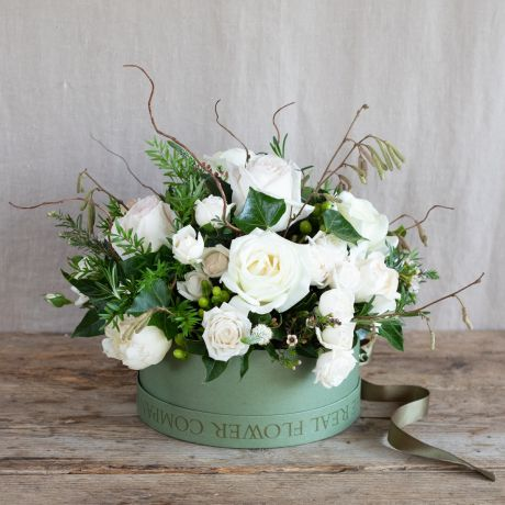 seasonal Ivory Hatbox Arrangement