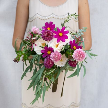 Seasonal Mixed Pink Bridesmaid Bouquet