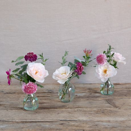 seasonal pink vase trio
