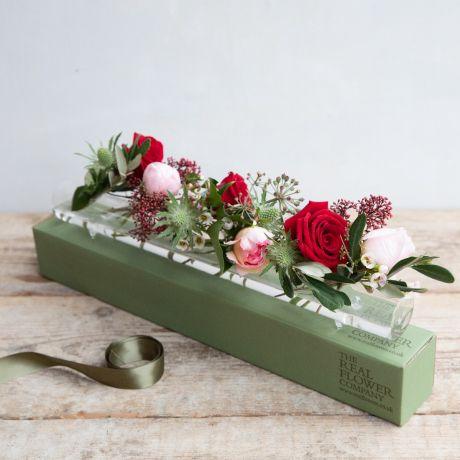 vintage valentines glass flower tube & posy