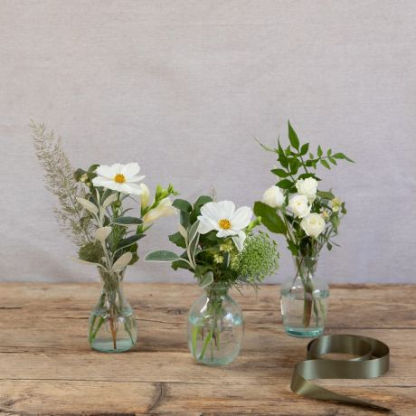 white and ivory vase trio