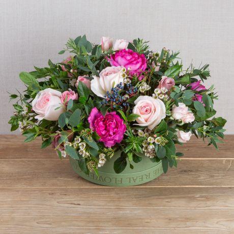 winter florist choice hat box arrangement