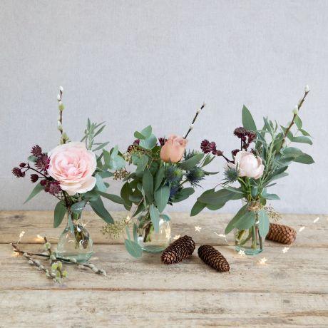 woodland antique christmas vase trio