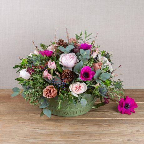 woodland antique hatbox arrangement