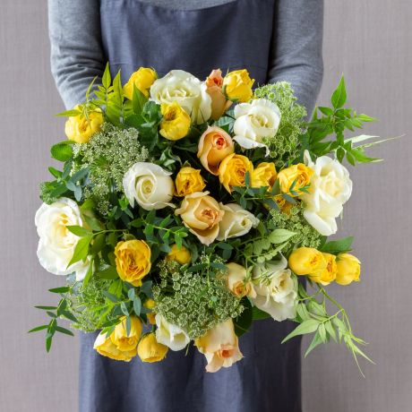 yellow and ivory pick of the day bouquet