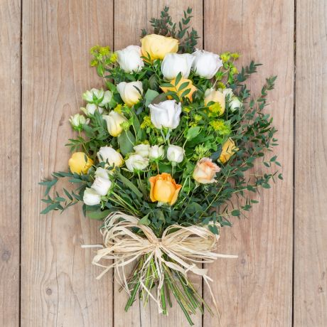 yellow and ivory tied funeral sheaf