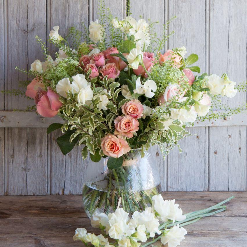 Antique Cream and Bronze Sweet Pea Bouquet