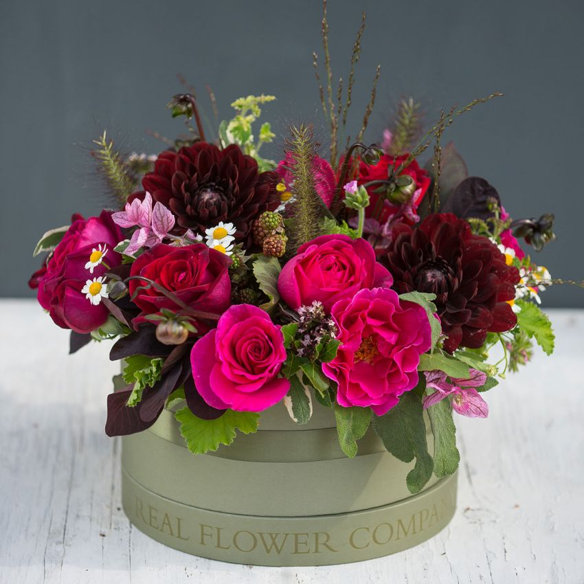 Autumn Romance Hat Box Arrangement
