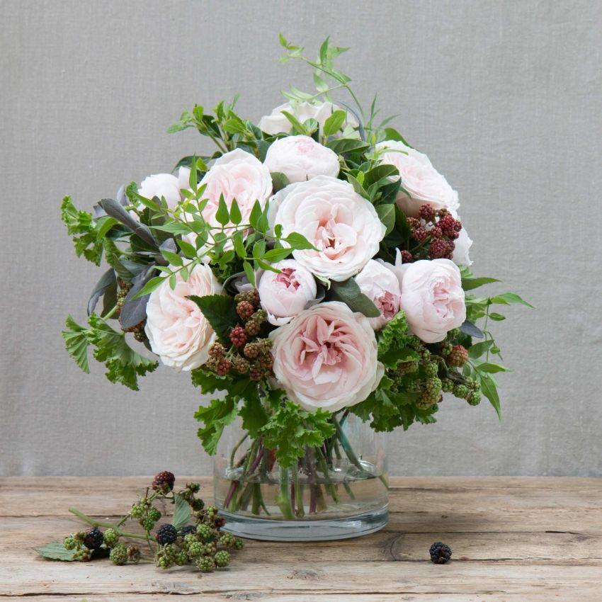 Blush Pink Rose & Blackberry Bouquet