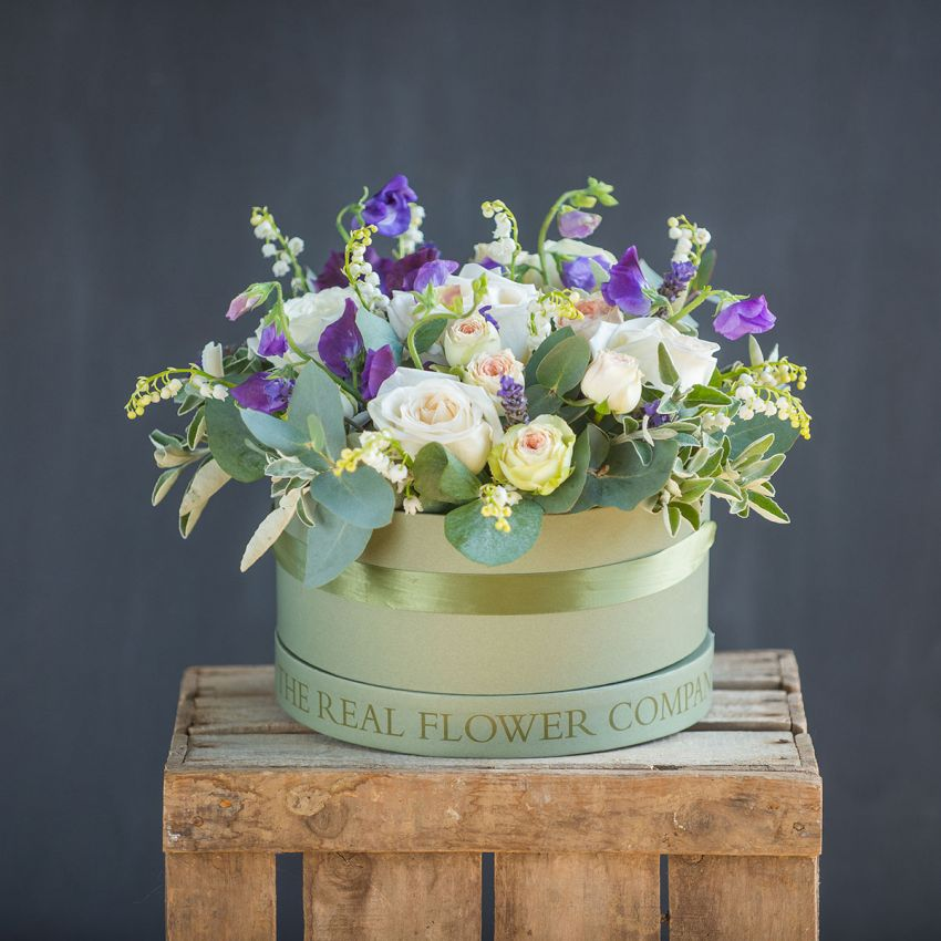Chelsea Lily of the Valley Hat Box Arrangement