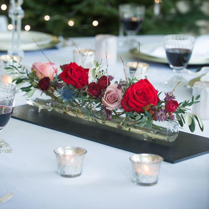 Christmas Glass Flower Tube & Posy