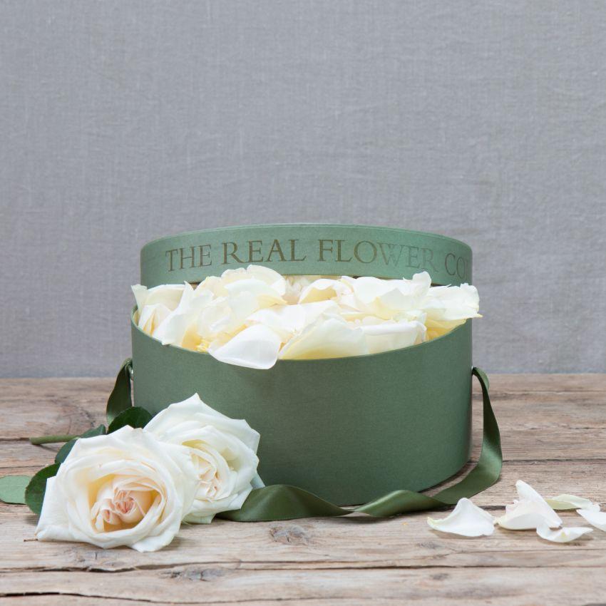Cream & Ivory Fresh Rose Petals In A 5 Pint Hat Box