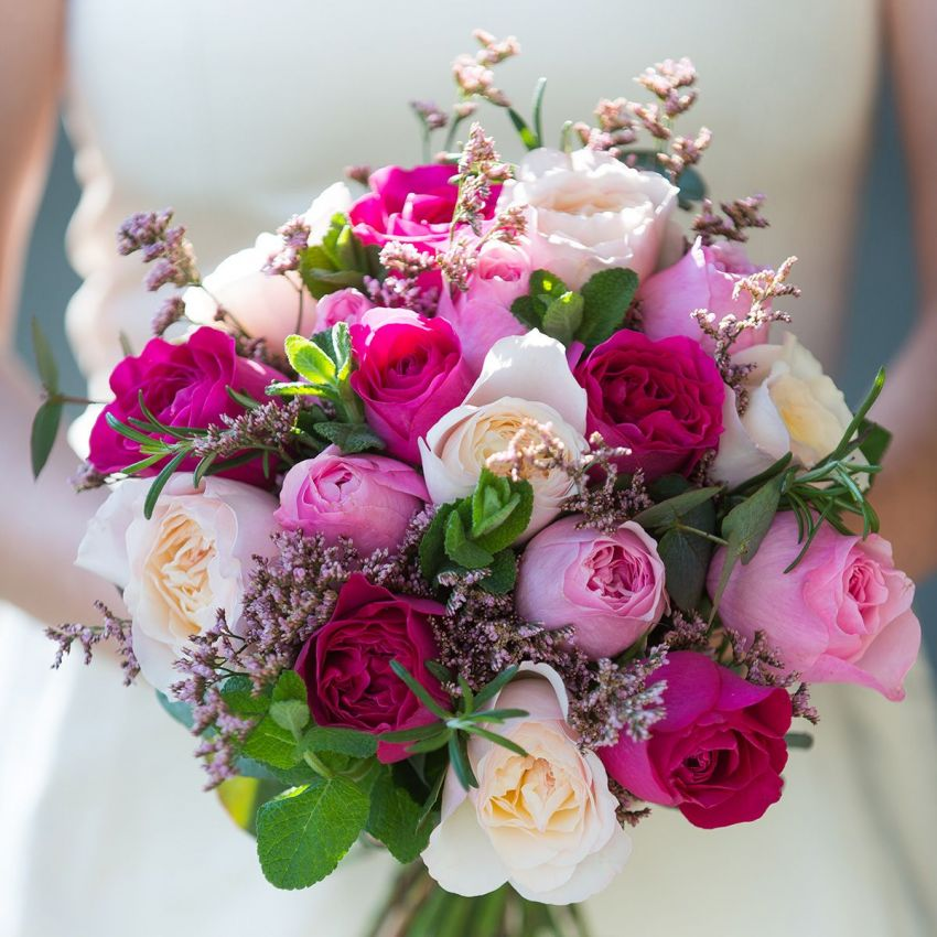 David Austin Mixed Pink Bridal Bouquet