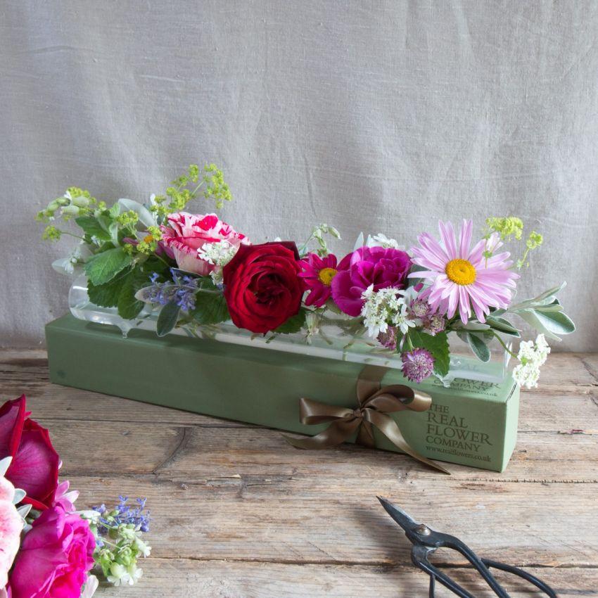 English Summer Glass Flower Tube & Posy