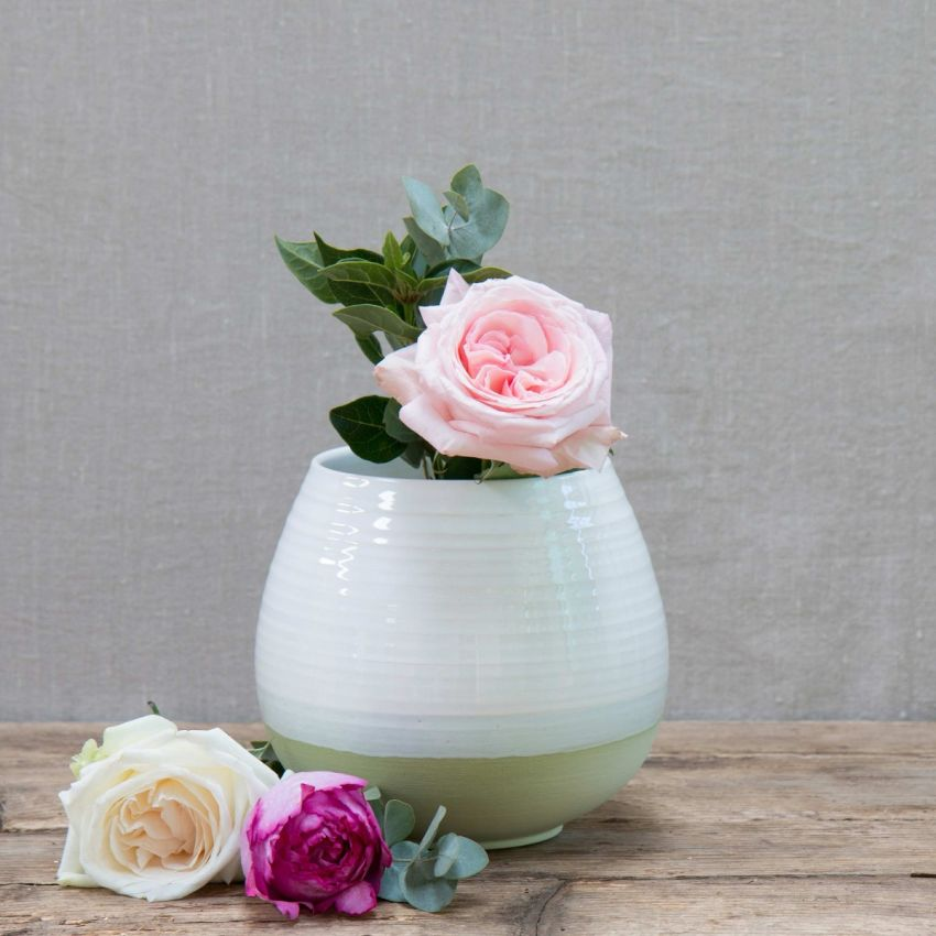 Green Hand-painted Round Vase