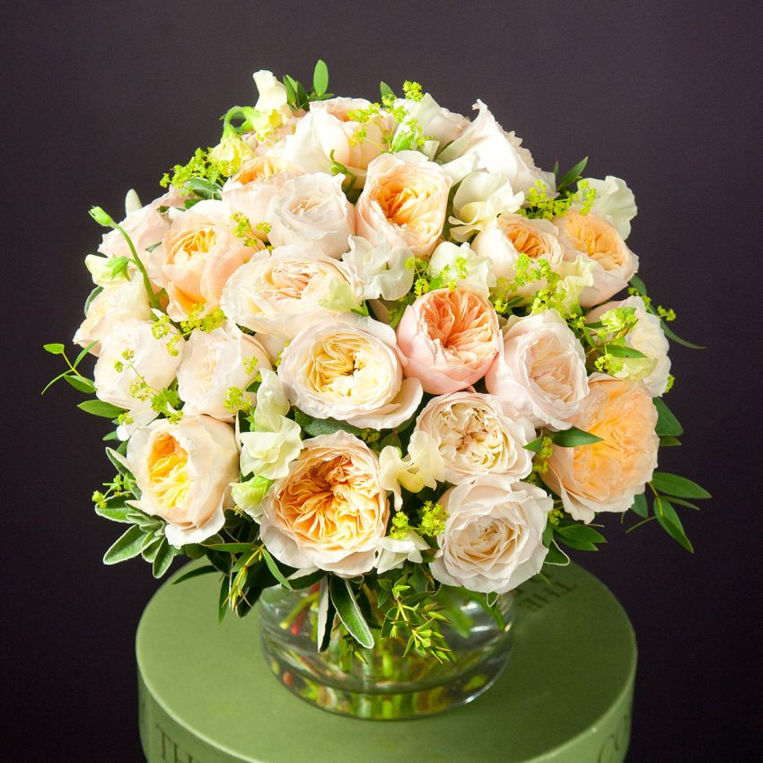 David Austin Apricot & Sweet Pea Bouquet
