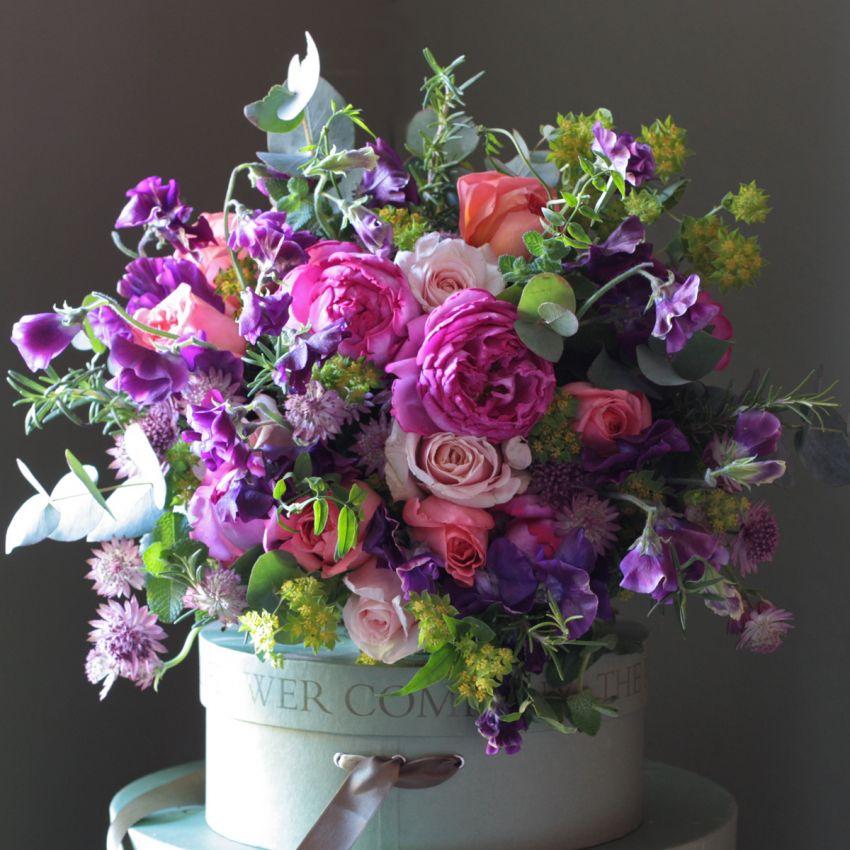Bright Garden Rose & Sweet Pea Bouquet