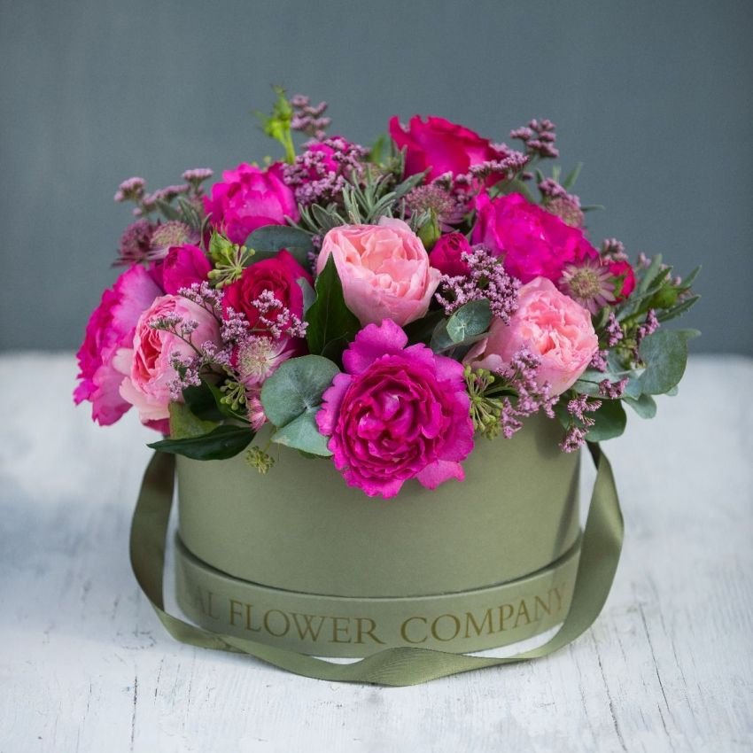 Passionate Pink Valentines Hat Box Arrangement
