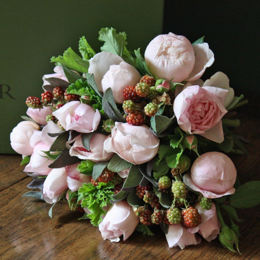 Blush Pink Rose & Blackberry Bouquet
