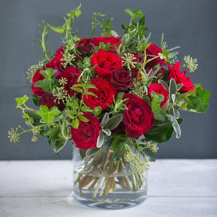 Romantic Rose & Herb Valentines Bouquet