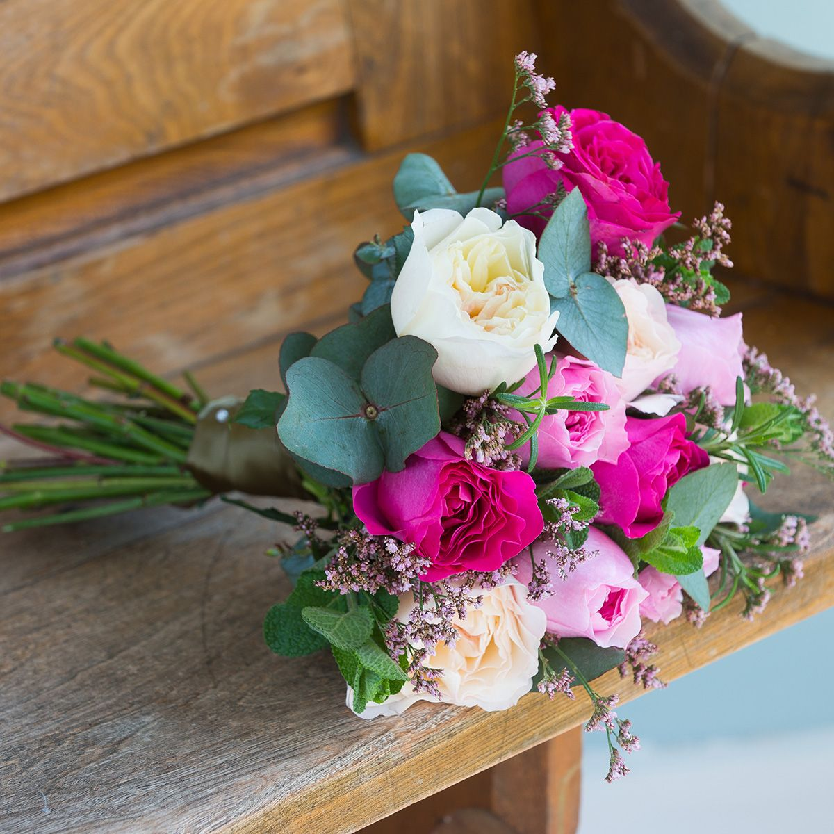 David Austin mixed pink bridesmaid bouquet