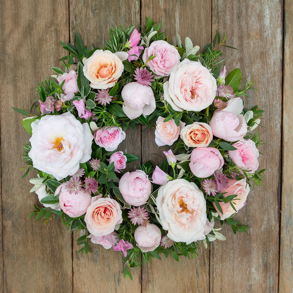 Pastel Pink Funeral Wreath Funeral Flowers The Real Flower Company