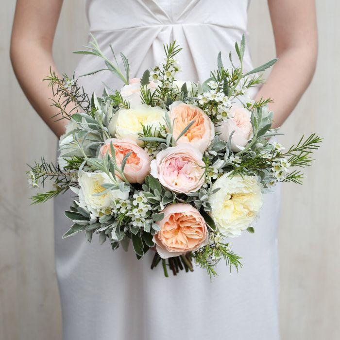 David Austin Rose Knot Bridal Bouquet Bridal Bouquets The Real Flower Company