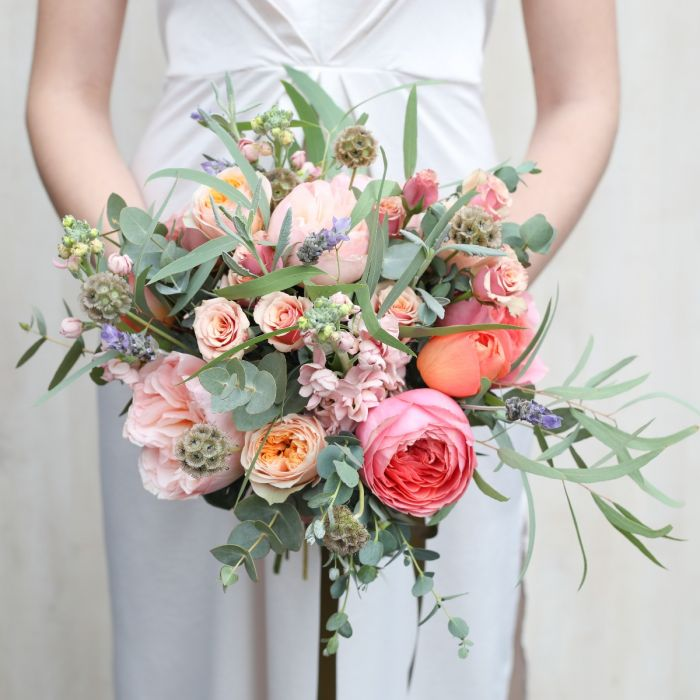 Romantic Coral Bridal Bouquet Wedding Flowers The Real Flower