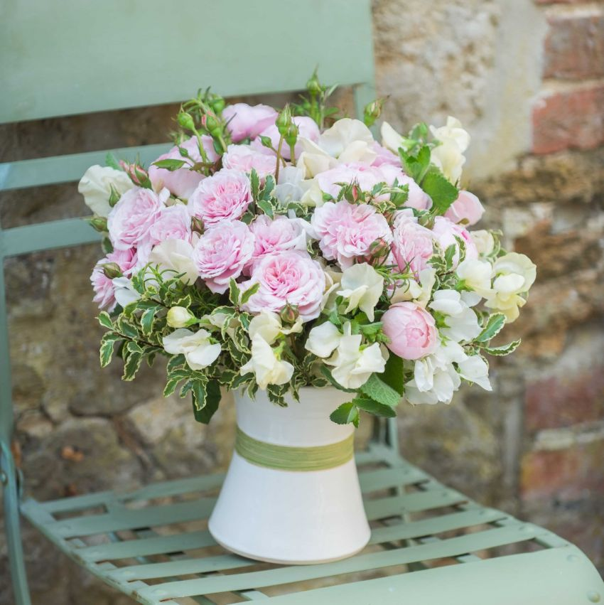 Pastel Pink Rose & Ivory Sweet Pea Bouquet