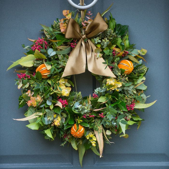Fresh Christmas Wreaths.Citrus Spice Door Wreath