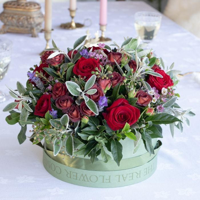 a6d73200afa Romantic Rose Valentines Hat Box Arrangement