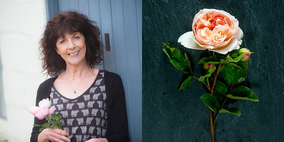 Eunice for British Flower Week with her favourite English rose Evelyn