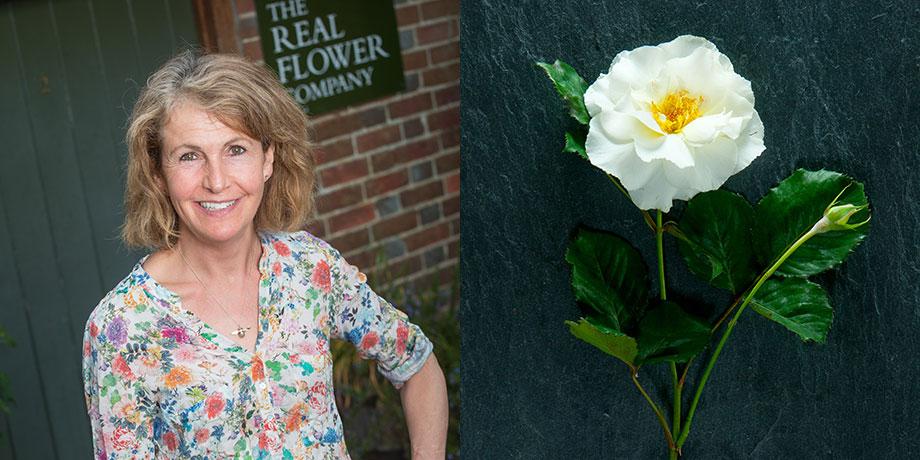 Rosebie Morton for British Flower Week with her favourite rose Margaret Merril