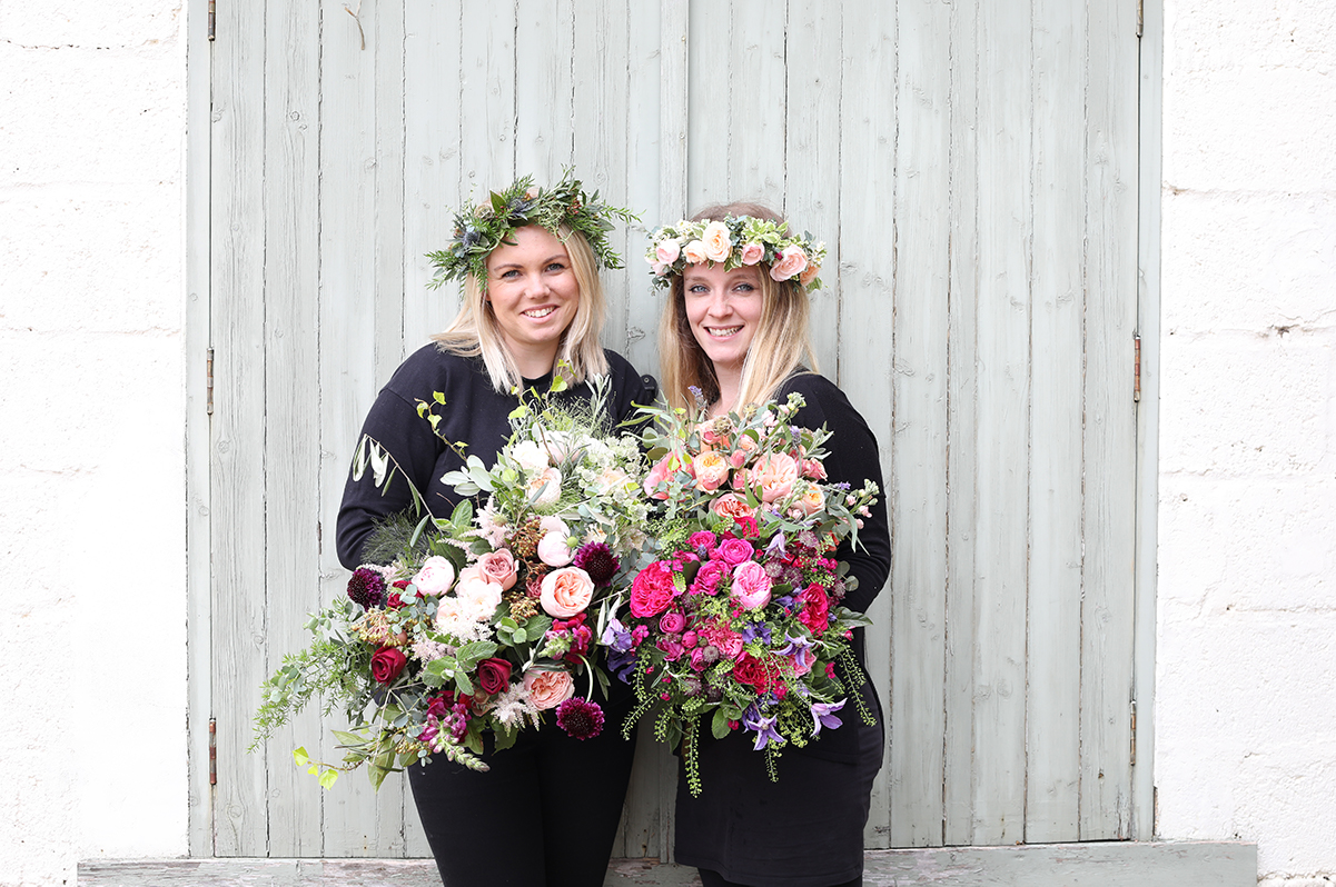 florists with wedding flowers