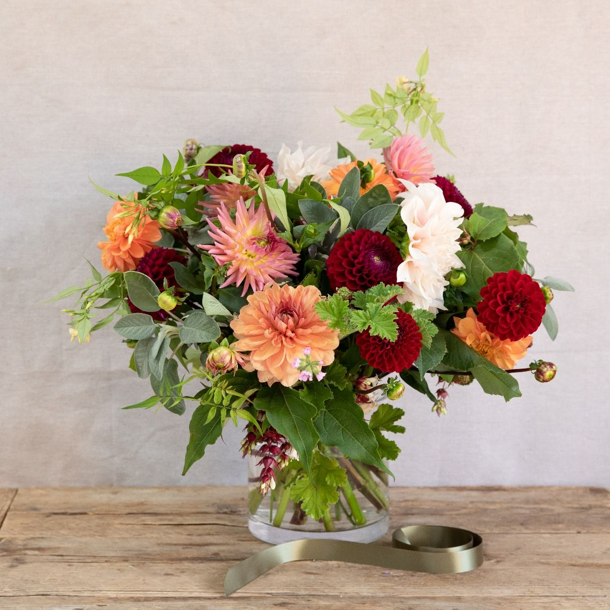 dahlia and herb bouquet