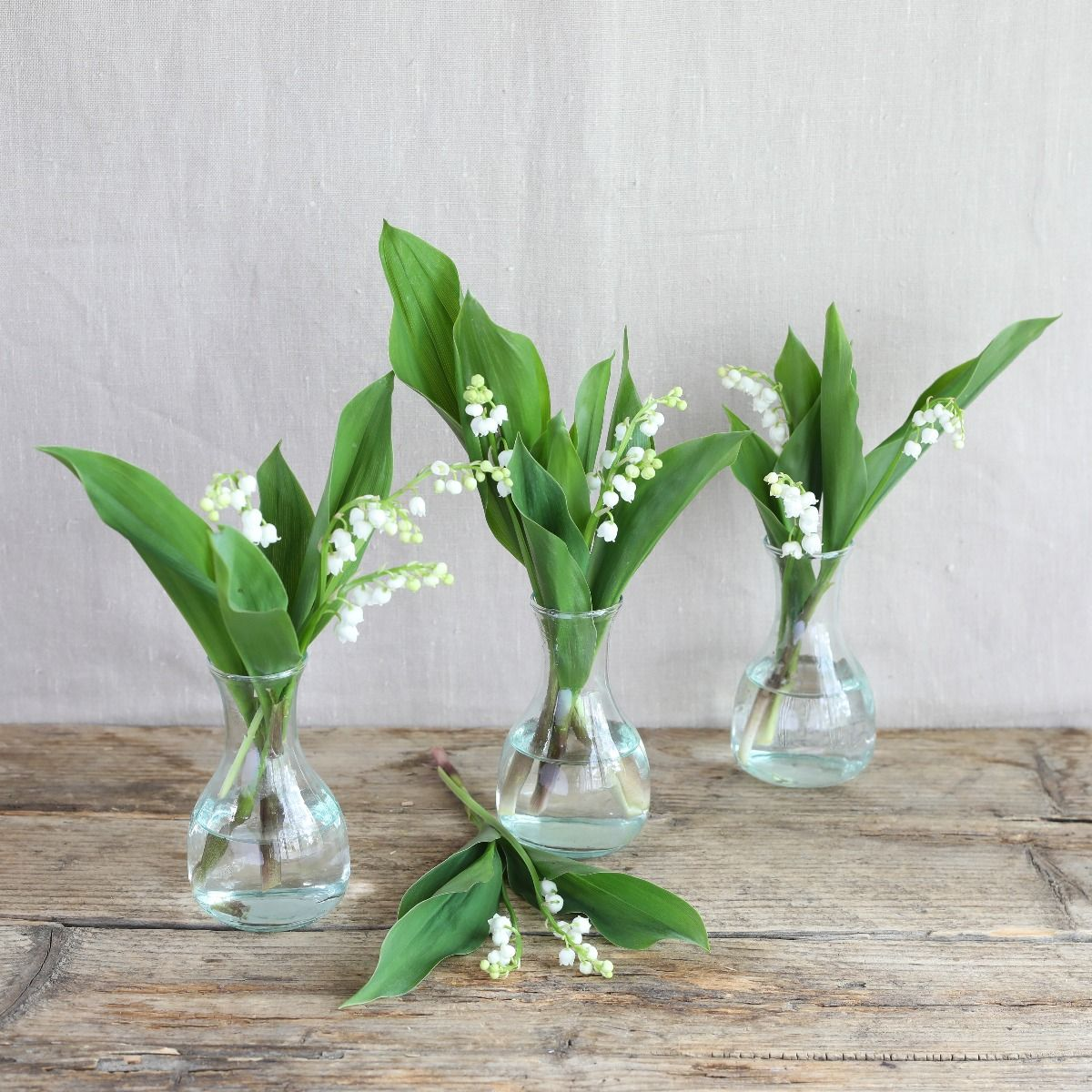 lily of the valley vase trio