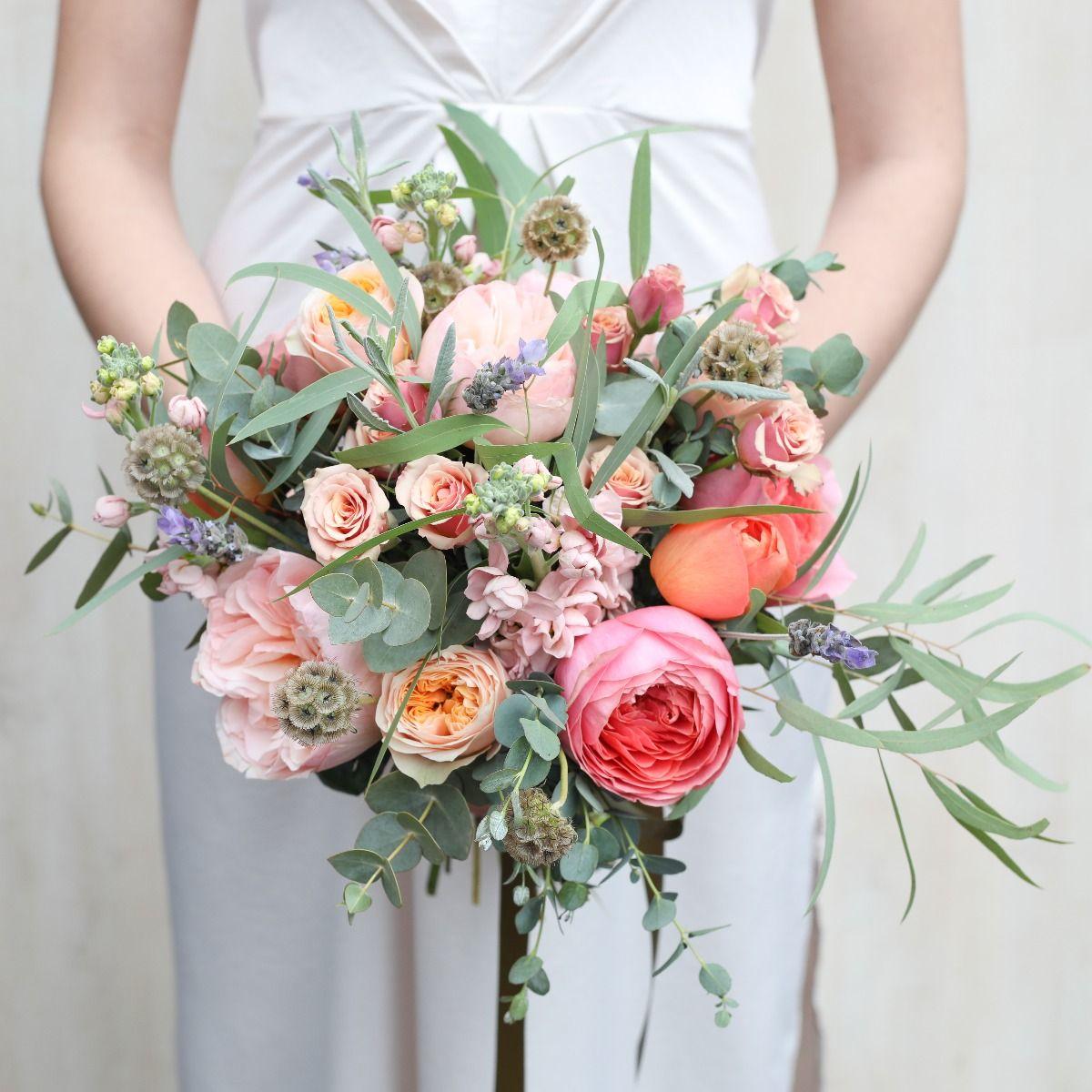 romantic coral bridal bouquet